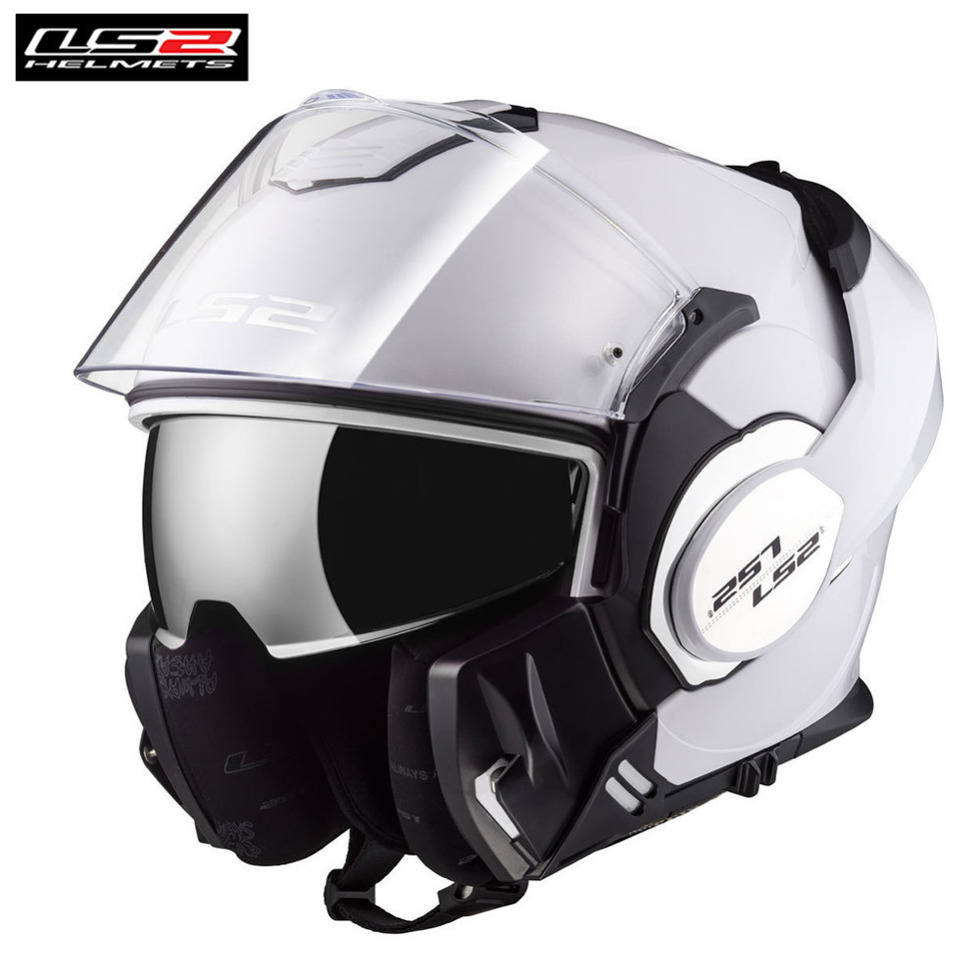 Motorcycle Helmet Dual Double Eyeglass Flip Up Sun Shield Full Open Face White