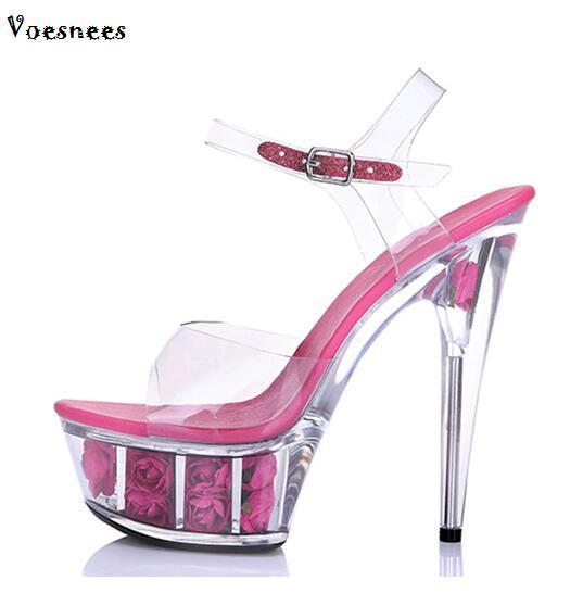 Steel Pipe Dance Shoes 2017 Crystal Transparent Sandals Waterproof Rose  Flowers Super High Heel 15cm Female 48ecb630ce82
