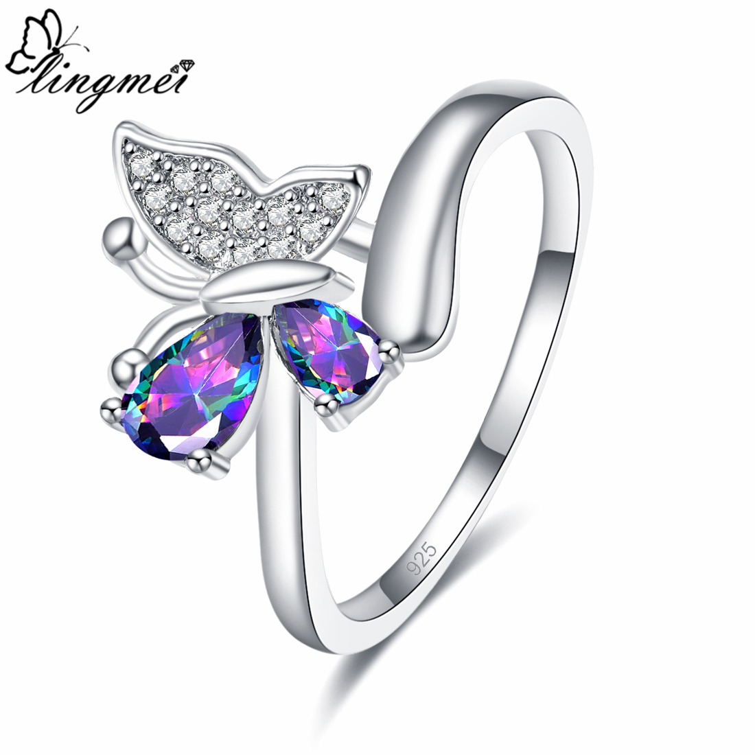 lingmei Drop Shipping Wedding Butterfly Jewelry Rainbow & Blue White Cubic Zircon Silver 925 Ring Size 6 7 8 9 Party Gifts