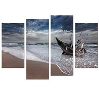 4 Pcs Set Sail Boat Canvas Arts Wall Pictures For Living Room Modern Poster And Printed