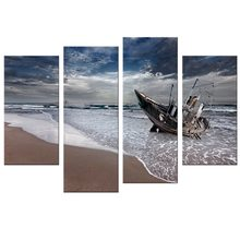 4 Pcs/Set Sail Boat Canvas Arts Wall Pictures For Living Room Modern Poster and Printed Wall Canvas Art Home Decor(China)