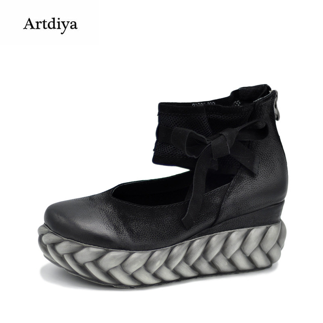 08f42a13517 Artdiya Geunine Leather Shoes Retro Original Spring Waterproof Women Shoes  Wedges Shoes High Heels Shoes 22335