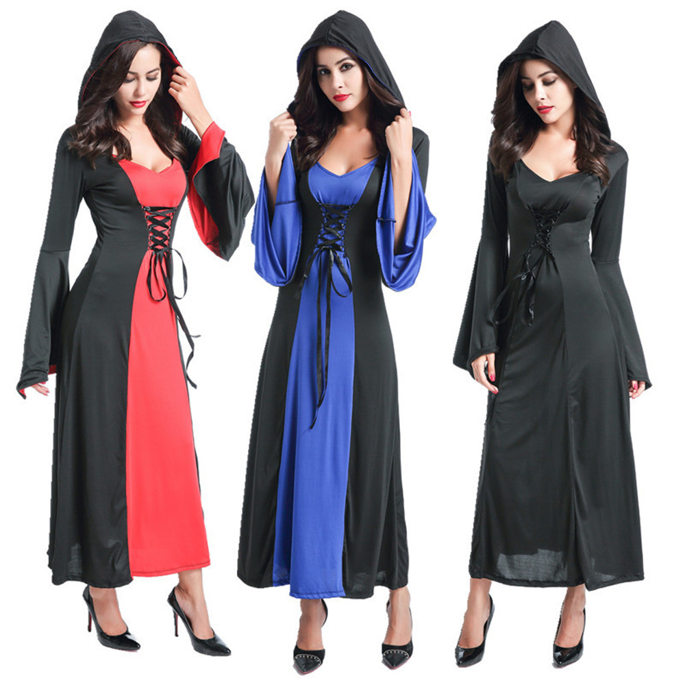 Cosplay Halloween Adult Vampire Maxi Dress Hooded Devil Dressed Medieval Victoria Dress Women Long Dress