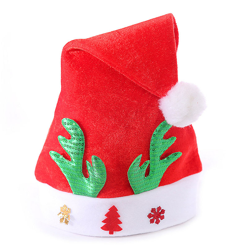 free shipping 1000PCS/LOT Adult Christmas Reindeer Hat Caps Cute Xmas Santa Claus Cap Xmas Gift Red Antlers Christmas Party