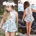 Rosa Floral Impresso Romper Do Bebê, meninas do bebê do vintage playsuit, rendas Floral printes Dos Ganhos Do Bebê Romper Do Bebê Roupas de Menina
