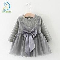 Bé Dresses 1st birthday trang phục 2018 Bé Gái Dài Tay Đan Bow Trẻ Sơ Sinh Phép Rửa Dresses Trẻ Em Công Chúa Váy Dây Đeo