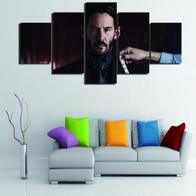Sem Moldura 5 Peças John Wick Modern Wall Art Imagem Pintura HD No Keanu  Reeves Cartaz