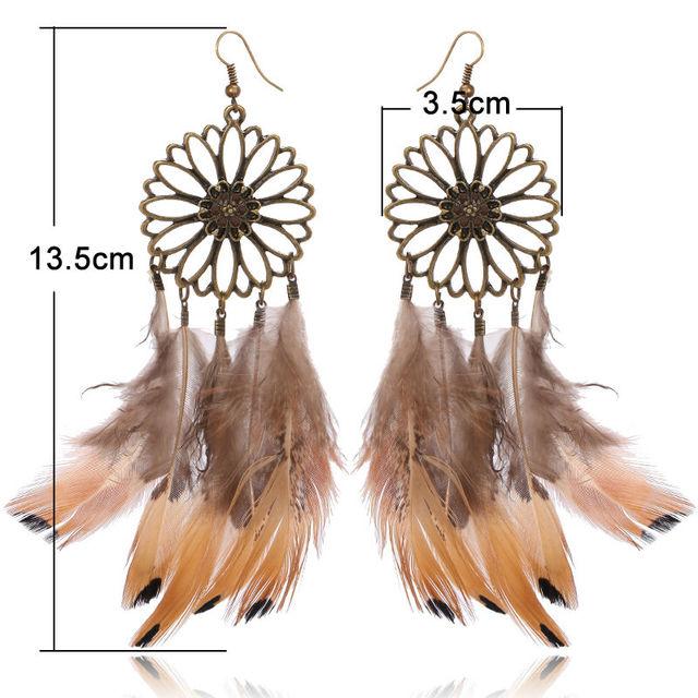 Fancy Design Big Feather Earrings