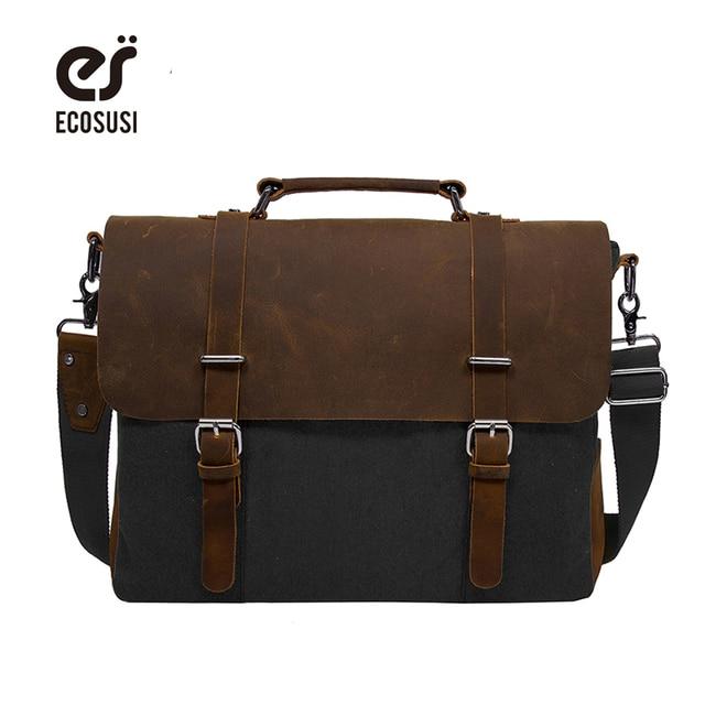 ECOSUSI 2018 Men s Shoulder Bags Canvas Leather Briefcase Vintage Satchel  School Shoulder Messenger Bags Fits 15 a9164c939116c