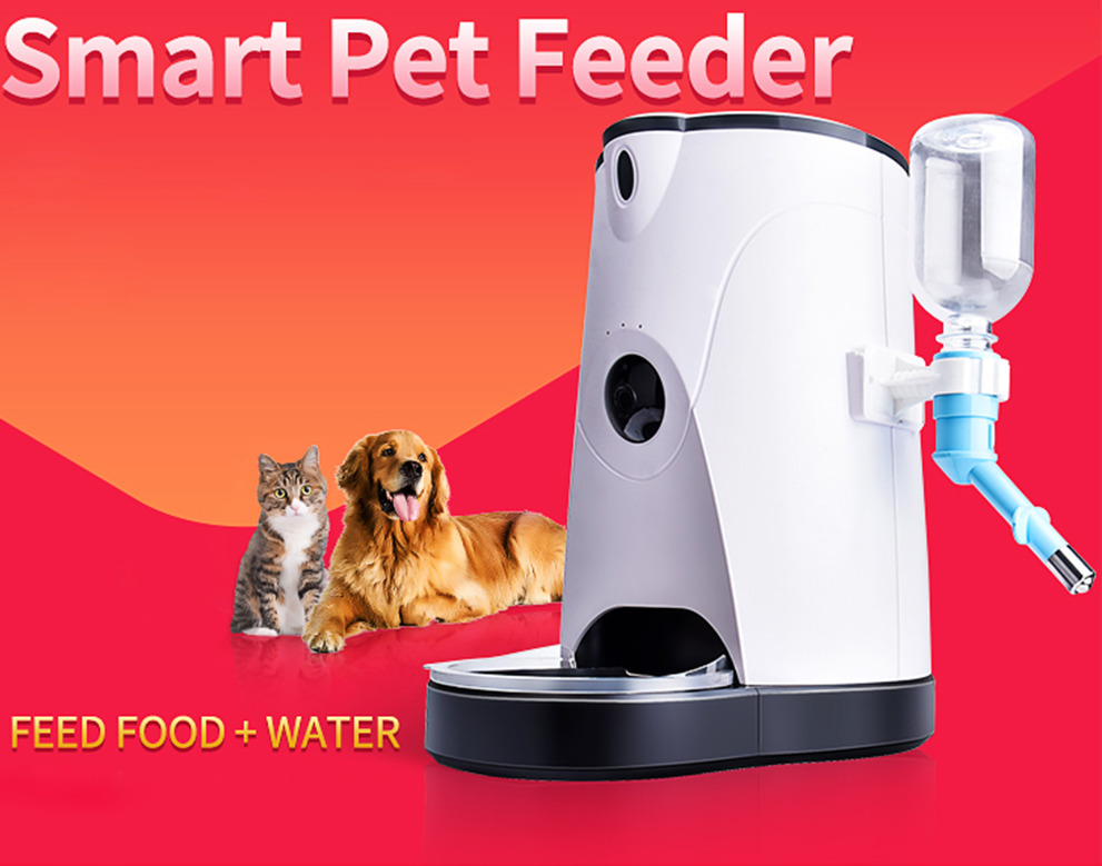 Automatic Smart Pet Feeder Camera With Water Feeding Wireless WIFI Camera IP for Dogs&Cats Remotely Monitoring Feeding 5 5l automatic pet feeder with voice message recording and lcd screen large smart dogs cats food bowl dispenser pet products