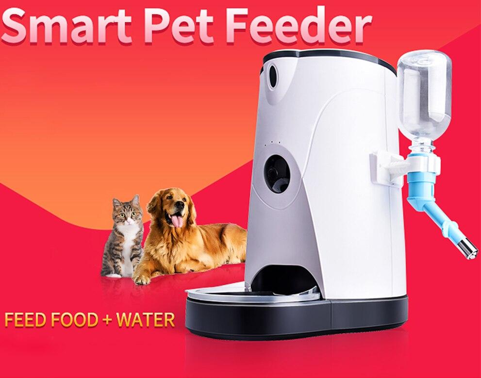 Automatique distributeur de nourriture intelligent pour animaux de compagnie Avec Alimentation en Eau Sans Fil WIFI Caméra IP pour Chiens et Chats À Distance Surveillance D'alimentation