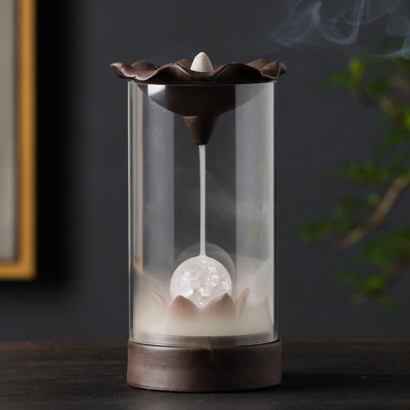 Electronic Backflow Incense Burner Creative Home Decor LED Glowing Ball lamp Censer Smoke Waterfall Holder Used