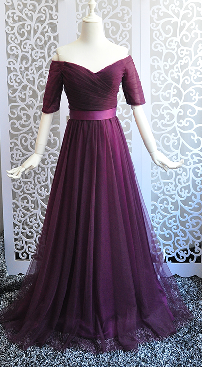 2017 New Bridesmaid Dresses Plus Size Stock Cheap Sexy Romantic Sweetheart Dark Purple Long Graduation Party Gala Custom Made For Fast Shipping Wedding Party Dress Weddings & Events