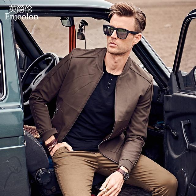 Enjeolon 2017 брендовая зимняя куртка-бомбер повседневные Пиджаки мужские, Твердые Ветровка Для мужчин S пальто Большие размеры S-3XL, стоять воротник куртки JK0460