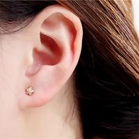 Delicate 18k Pure Real Gold Star Stud Earrings Women Girl Miss Fine Jewelry Genuine AU750 Solid Pierced Earrings Party Gift