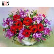 WEEN Red and Purple Flower Pictures Painting By Numbers Modern DIY Oil Acrylic Drawing Home Decor Coloring Art For Living Room