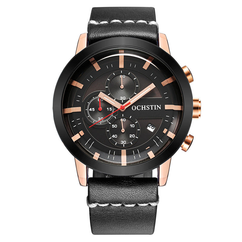 OCHSTIN Brand Sport Mens Watches Top Brand Luxury Male Leather Waterproof Chronograph Quartz Military Wrist Watch Men Clock A 2017 ochstin luxury watch men top brand military quartz wrist male leather sport watches women men s clock fashion wristwatch