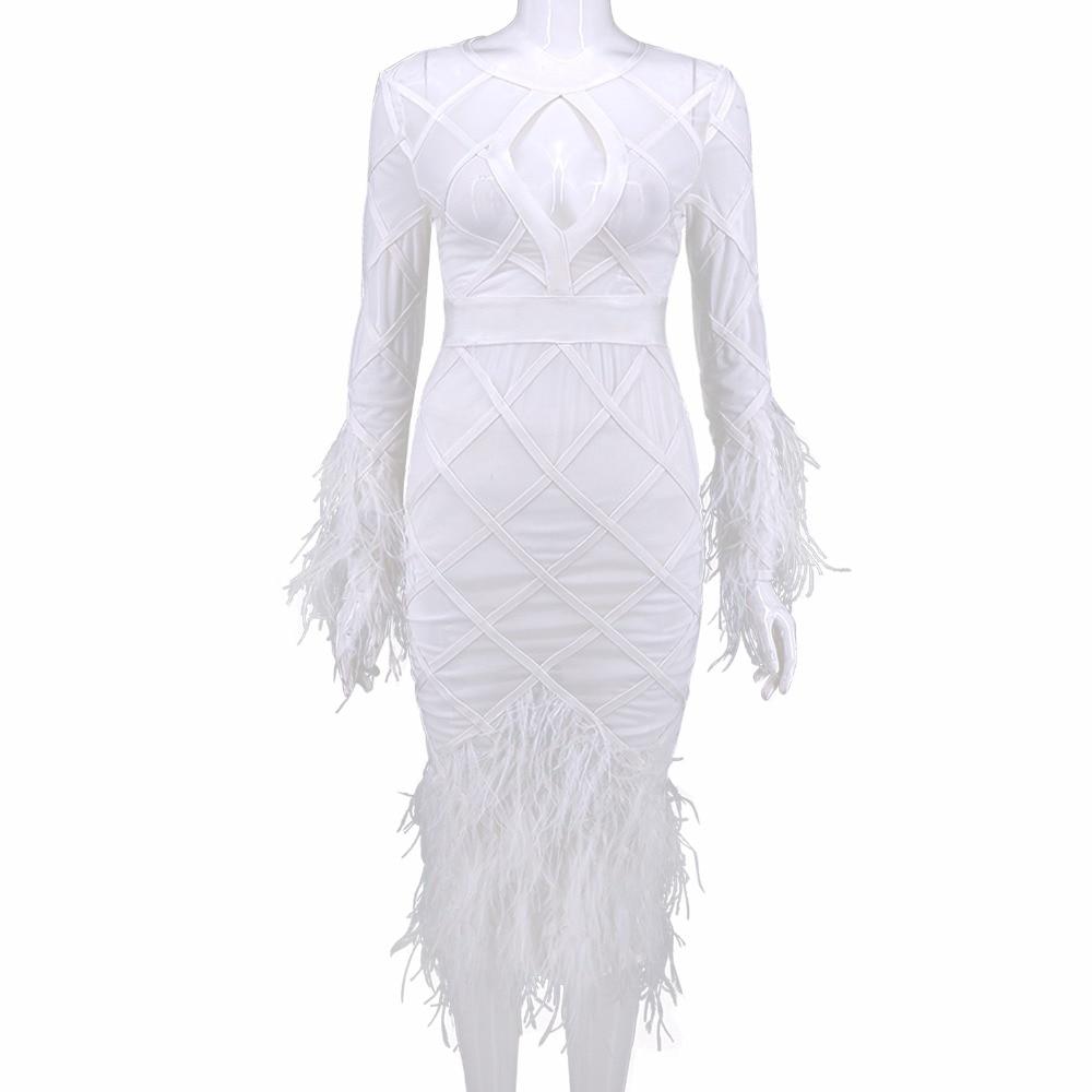 Maille Parti Manches Longues Sexy Plume Élastique 2017 Qualité Bandage Dames Tricoté Blanc Robe Haute SwqXOX