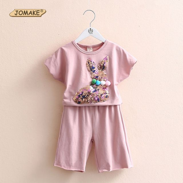 Toddler Girl Clothing Set New Fashion Summer Sequin Bunny Cotton T-shirt + Shorts Casual Kids Clothes Sets Girls Children Suits