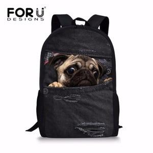FORUDESIGNS Lovely Puppy Pug School Bag Denim Jeans Cat Schoolbag for Junior Girls 3D Primary Children Bookbag Mochila Escolar