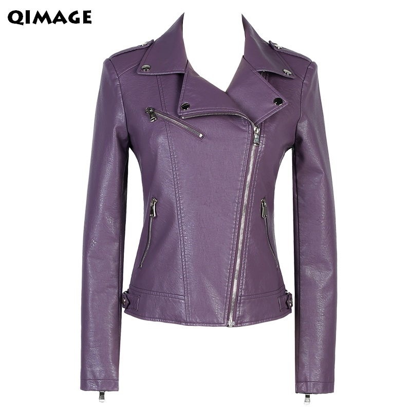 2017 Fashion short sleeve   leather   jacket for ladies women's   leather   jacket short coat slim design purple women's outerwear