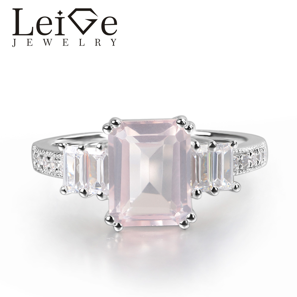 Leige Jewelry Natural Pink Quartz Ring Emerald Cut Pink Gemstone Prong Setting 925 Sterling Silver for Women Promise Ring leige jewelry promise ring natural pink quartz ring oval cut pink gemstone 925 sterling silver ring romantic ring for women