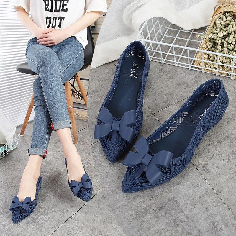 Rouroliu Women Summer Pointed Toe Hollow Out Rain Shoes Bowknot Waterproof Non-Slip Casual Beach Shoes Woman RB80