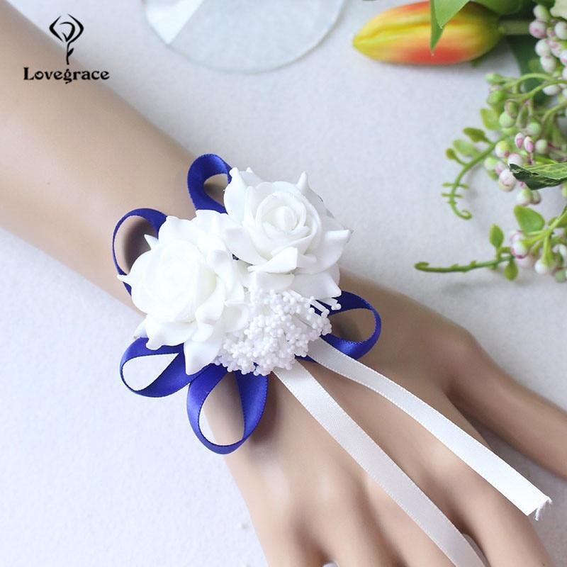 White Foam rose Wedding Wrist Corsage Hand Flowers Boutonniere bridal  (47)