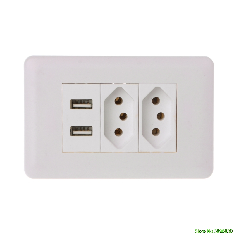 все цены на 15A WallDouble Standard Power Socket Adapter Dual Ports USB Charger Panel 5V 2.1A онлайн