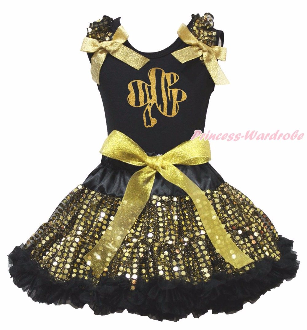 St Patrick Clover Bling Rabbit Paint Black Top Gold Bling Sequins Girls Skirt Outfit Set 1-8Y green top shirt my 2nd st patrick day rainbow clover girls skirt outfit set 1 8y