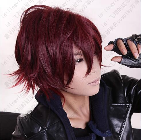 New Arrival High Quality Amnesia Shin Anime Wigs Short Red Ombre