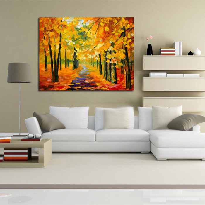 bb handmade-Golden-Tree-Forest-painting-Knife-Oil-Painting-On-Canvas-Gold-Montreal-Picture-Wall-Art-me (2)