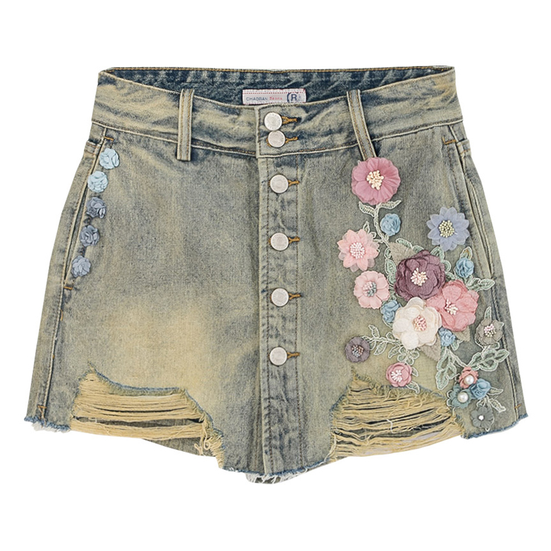 Summer Casual Womens Button Fly Embroidery Flower Ripped Hole Tassel Denim Skirt Shorts , Women Bleached Washed Jeans Hot Shorts