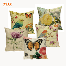 TOX Vintage Flower Bird Butterfly Cushion Covers Wedding Beach Funny Gifts Customized Printed Home Decor Pillowcase