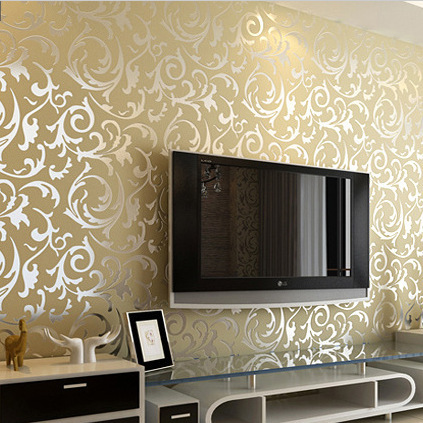 simple european buttercup broom leaf embossed wallpaper waterproof