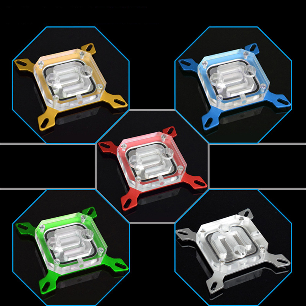 CPU Water Cooling Block Acrylic Copper Radiator Waterblock Liquid Cooler for Intel PC free shipping 53 53 14mm pure copper water cooling block for intel cpu buckle computer copper cpu water block