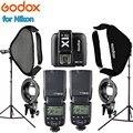 2 GODOX TT600 вспышка для камеры Speedlite + X1T-N триггер 2 шт 60*60 софтбокс 2 шт осветительная стойка фотостудия наборы для Nikon