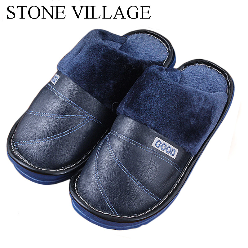 STONE VILLAGE New Winter Fashion Leather Slippers Warm Plush Home Slippers Indoor\Outdoor Slippers Non-Slip Indoor Shoes Men 400w desktop power supply max 500w psu quiet power switching 12v atx btc sata power supply computer chassis for intel amd pc