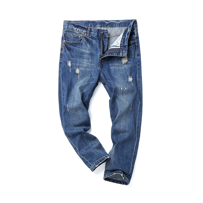 2018 Spring Propcm Men Jeans Ankle Length Vintage Loose Ripped Hole Denim Pant Pencil Jeans Washed Classic Blue Fashion Jean