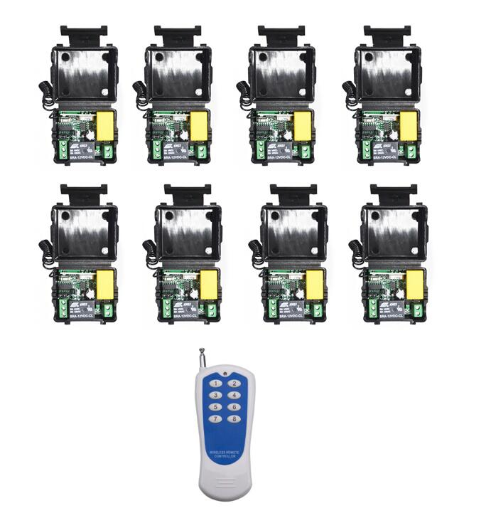 Long range Mini Size AC 220V 1CH RF Wireless Remote Control Switch Relay 8pcs Receivers + 8CH Transmitter 433mhz