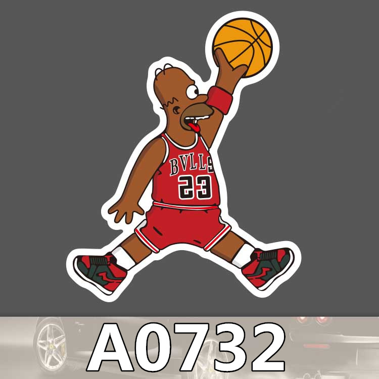 Bevle A0732 Basketball Players Suitcase Waterproof Sticker Cool Laptop Luggage Fridge Phone Graffiti Cartoon Notebook Stickers