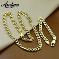 ANDARA Luxury Necklace Set 8MM Men's Trendy Wholesale Yellow Gold Plated Snake Chain Necklace Bracelet African Jewelry Sets P043