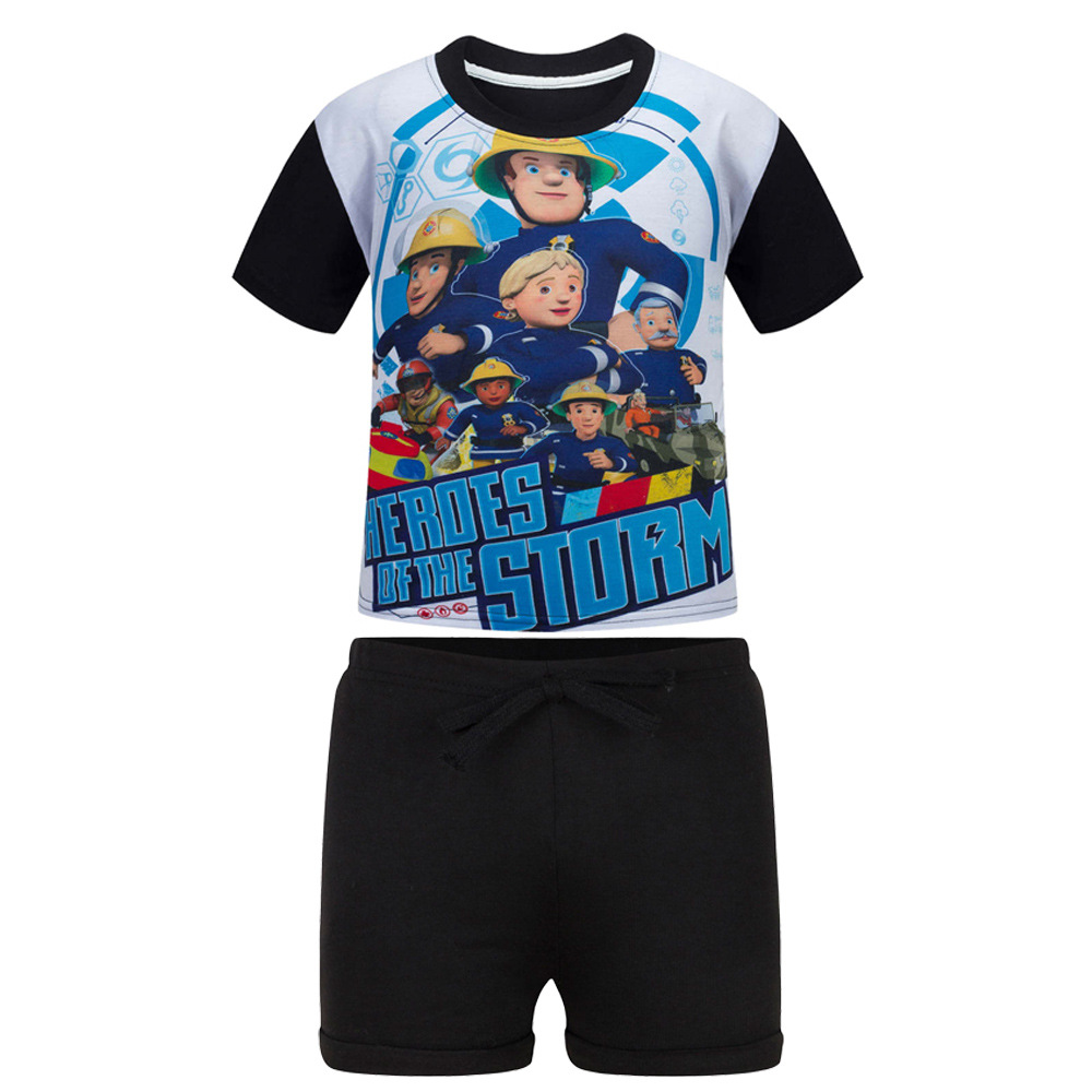 Clothing Sets Pants Kids Boys Clothing 2 Pcs Clothing Sets Children Suit Fireman Sam Kids Summer Clothes Sets Cartoon Printed T-shirt