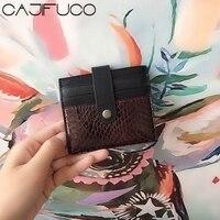 CAJIFUCO Echte Schlangenhaut Doppel Porte Carte Magische Brieftasche Haspe Kreditkarte Halter Brieftasche Leder Geldbörse-in Karte & ID Halter aus Gepäck & Taschen bei