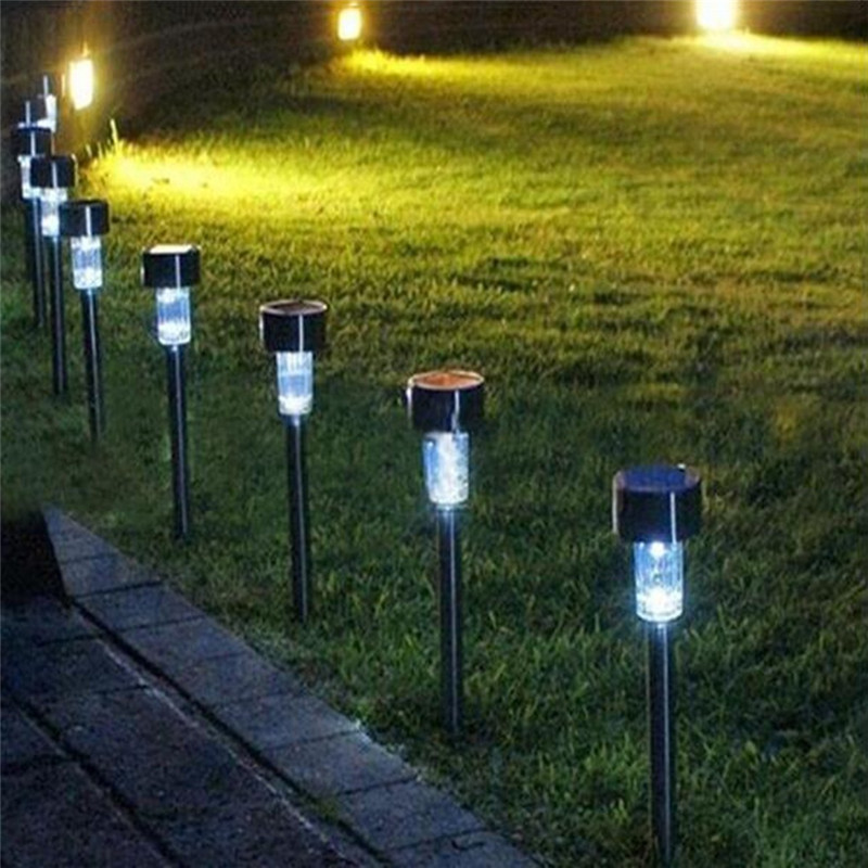 new 1pc outdoor bright white led solar landscape path light garden yard lawn solar lamps grounding - Solar Landscape Lights