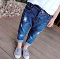 Free Shipping 2015 Autumn Distrressed  Holes Girls Long Jeans Loose Casual Children Jeans  Kids Long Pants Blue