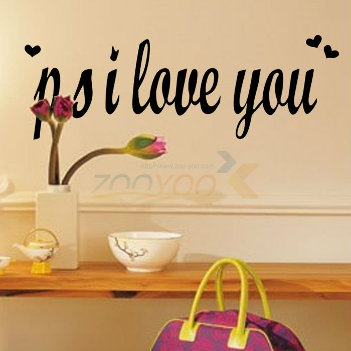 P.S I Love You creativewall decal ZooYoo8180 decorative adesivo de parede removable vinyl wall sticker