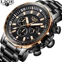 Relojes Hombre 2018 Новый LIGE модные Для мужчин s часы Элитный бренд Бизнес кварцевые часы Для мужчин спортивные Водонепроницаемый большой циферблат