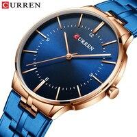 Curren reloj hombre 2019 mais novo masculino relógios moda relógio de aço inoxidável banda à prova dwaterproof água relógio de quartzo para homem azul|Relógios de quartzo| |  -