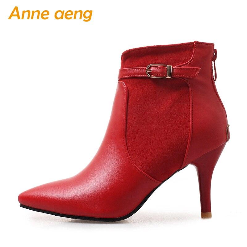 Otoño Tacones Talla Oficina Grande Green Primavera deep Delgados Red Elegantes Mujer De Rojas Altos Zapatos 46 Botas Tobillo Puntiagudas black 2019 33 Nuevo xYfwxO